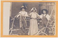 Real Photo Postcard RPPC Two Women in Overalls as Men Man as Woman Crossdressing
