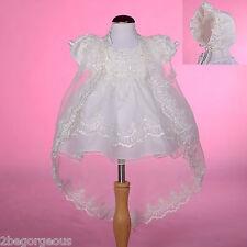 Beaded Baptism Christening Dress Cape Bonnet Wedding Ivory Baby Girl 3-6m #008