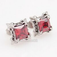 Men's Women's Ruby CZ Fleur De Lis Stainless Steel Stud Earrings