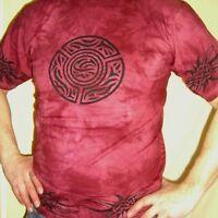 T-shirt Batique coton CELTIQUE rouge foncé Inde Goa hippietrance taille L HOMME