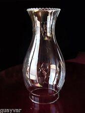 """Antique 9 5/8"""" Clear GLaSs OiL~KeRoSeNe Lamp Chimney~SHADE~Globe 3 1/2"""" Fitter"""