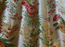 "Printed Flowery Cream Dupioni Shantung 100% Silk Fabric 54"" W, By Yard (TS-7461)"