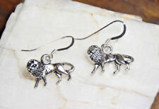 Lion Earrings animal Africa 925 sterling silver hooks pewter Charms