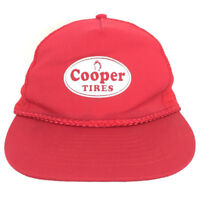 Vintage Cooper Tires Hat Rope Cap Logo Mesh Back Snapback Baseball Trucker Red