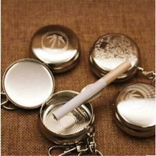 Stainless Steel Cigarett Ashtray Pocket Portable Round Mini Key Chain Keyring YI