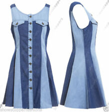 Denim Sleeveless Dresses for Women with Buttons