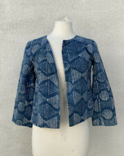 Eileen Fisher XS / P Organic Cotton Indigo Jacket Blue Hand Printed