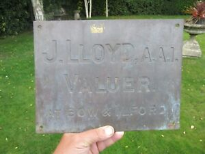"J Lloyd AAI Valuer at Bow + Ilford ( London ) Antique Brass Sign c1920 12"" x 9"""