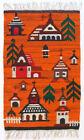 CHURCHES Vintage 1970s Folk Art Polish Textile Wall Hanging / Rug NEW OLD STOCK