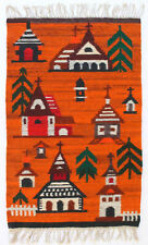 More details for churches vintage 1970s folk art polish textile wall hanging / rug new old stock