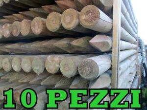 Pali tondi in legno con punta 10 pz. in pino impregnati in autoclave torniti