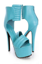 Teal Ankle Strap Open Toe Stiletto Heel Platform Shoes, US 9