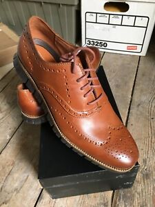 NEW Cole Haan Zerogrand Leather Wingtip Shoes 12 M British Tan/Java Brown $195