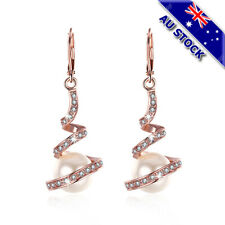 18K Rose Gold Filled Clear Cubic Zirconia Crystal Big Pearl Earrings Gift