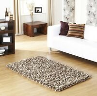Ultimate Rocky Taupe Brown Ultra Thick Wool Pile Shaggy Modern Rug 80 x 150 cm
