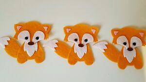 x3  orange Foxes.Felt Embellishments.Die cuts. Animal  die  cuts