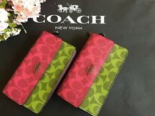 coach Foldover Wristlet In Blocked Signature Canvas Qb/Magenta Multi