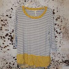 MATILDA JANE Oracle Striped & Polka Dot Top Yellow Gray White Medium