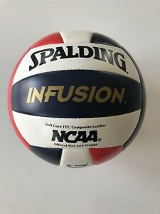 SPALDING INFUSION VOLLEYBALL TPU COMPOSITE LEATHER RED/WHITE/BLUE SELF PUMP NCAA