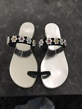 Giuseppe Zanotti Crystal Flower Suede Toe Ring Sandal Silver Sz 37