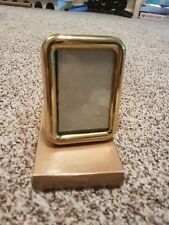 "2.5"" X 3.5"" Brass Curved Rectangular Frame W/ Stand  NIB"