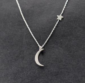 Fashion Women's Moon Star Pendant Choker Necklace Gold Silver Long Chain Jewelry