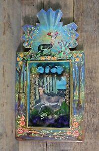 Frida Kahlo as a Wounded Deer Handmade Hand Painted Tin Retablo Mexican Folk Art
