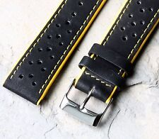 Yellow Stripes perforated 20mm rally watch band yellow edges & stitching 24 sold