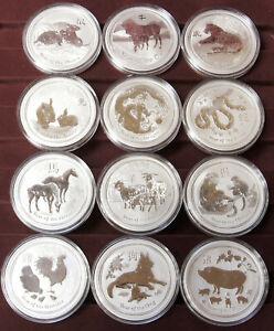 Silber 999 Lunar II Münzen Sammlung komplett 12 Unzen Australien Münze Rarität