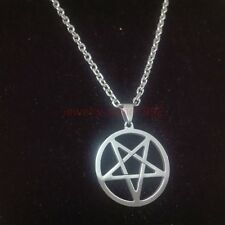 Wicca Inverted Pentagram Pentacle Stainless Steel Silver Pendant Necklace Unisex