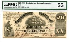 1861 $20 Confederate Currency T-18 Pmg 55.