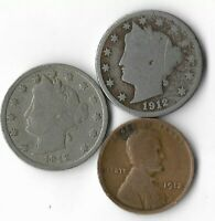 Rare 100 Year Old 1912D&P Liberty Nickel Penny Collection Coin Antique Lot:Q71