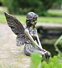 Garden Ornament Fairy Sitting Magical Brass Copper effect Figurine Angel Statue