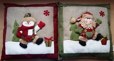 Green /& Red Santa Father Christmas or Snowman Cushion GRCUSH