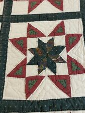 """Vintage Hand Quilted The Rising Star Quilt 96"""" x 88"""" Queen #231"""