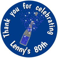 PERSONALISED GLOSS CHAMPAGNE   BIRTHDAY STICKERS ANY AGE OR OCCASION  BLUE