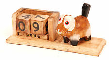 Wooden Brown Dog Calendar Wooden Blocks with Month and Date Cute Dog Figure