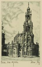 DRESDEN - Katholische Hofkirche - Hanno Platz - Radierung 1939