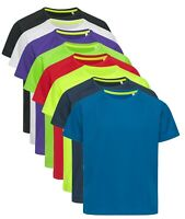 Active Dry Childs Boys Girls Plain Breathable Polyester Mesh Sports Tee T-Shirt