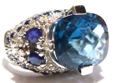 14K WHITE GOLD 7.50CT LONDON TOPAZ + .75CT BLUE SAPPHIRE + 1.05CT DIAMOND RING