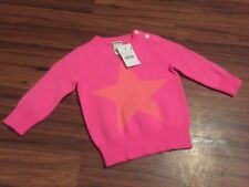 JCREW CREWCUTS Infant girl STAR 100% cashmere sweater 9 Months NWT NEON PINK