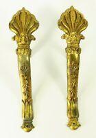 "= Antique 1830's Empire Bronze Dore Curtain Tie Backs Holders 11.5"" Gilt Bronze"