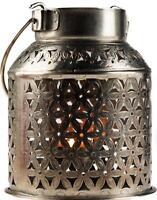 Silver Metal Moroccan Ethnic Style Almeria Lantern - Tea Light Candle Holder