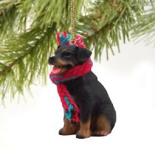 Rottweiler dog Hand Painted Ornament Resin Figurine Christmas Collectible Puppy