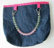 Blue Jeans Soft Bucket Purse Bag Beaded Handle Pink Lining Silver Hardware
