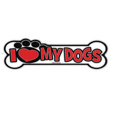 Magnetic Bumper Sticker - I Love My Dogs - Bone Magnet