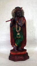 Krishna Wooden Statue Playing Flute Hindu God Krsna Temple Figurine Sculpture