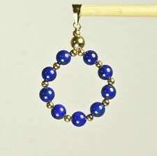 14k solid yellow gold natural 20mm circle Lapis Lazuli gorgeous pendant 2.8 tcw