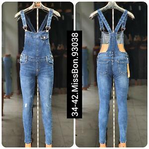 Women Ladies Dungarees Romper Stretch Jumpsuits Denim Jeans Mini & full Dress...