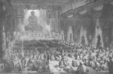CHINA. Religious Ceremony in a Chinese Lamasery (Buddhist Temple)  1892 print